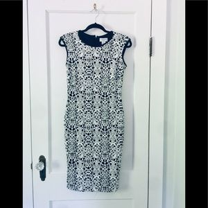 NET Carmen Marc Valvo Black and White Dress